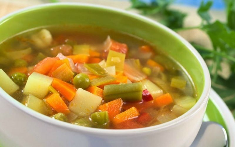 Vegetable soup with basil, garlic and everything else in our garden!